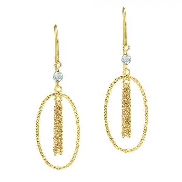 14k Yellow Gold Oval Drop Earrings