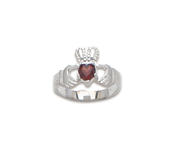 Sterling Claddagh Ring with Heart Shape stone
