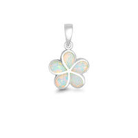 Sterling Silver White Inlay Opal Flower Pendant