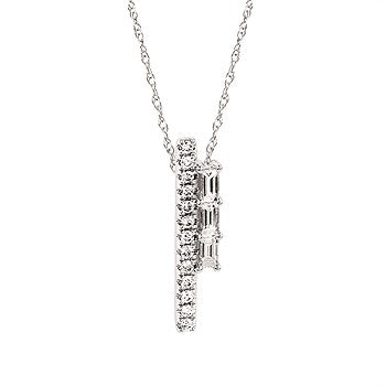 Diamond Line Pendant in 14k white gold