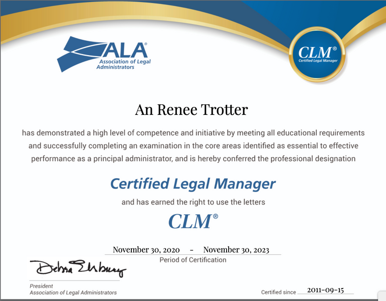 ALA's Certified Legal Manager Designation