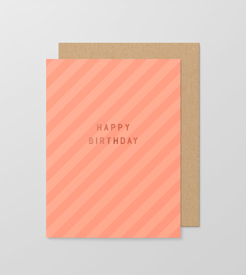 Happy Birthday stripey greeting card
