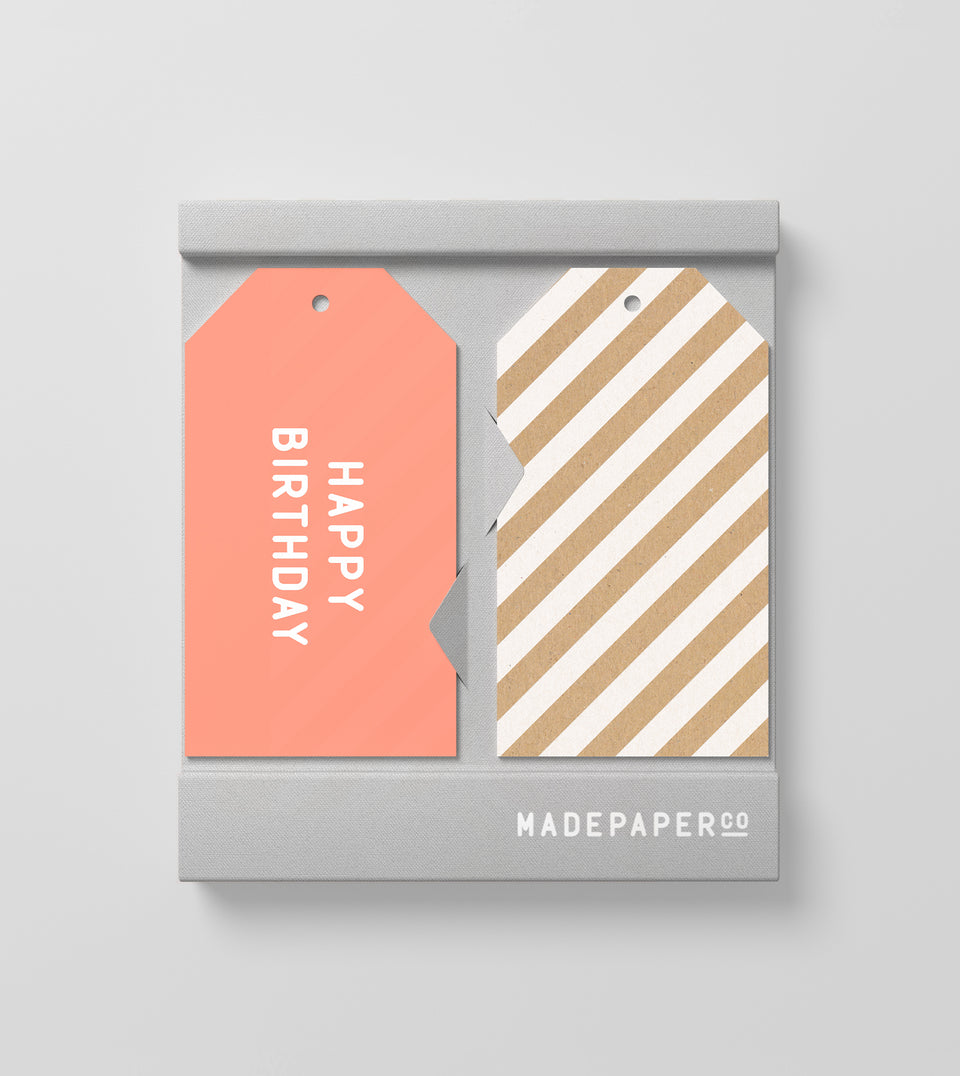 Happy birthday 10pk gift tags (pink, white and kraft stripe)