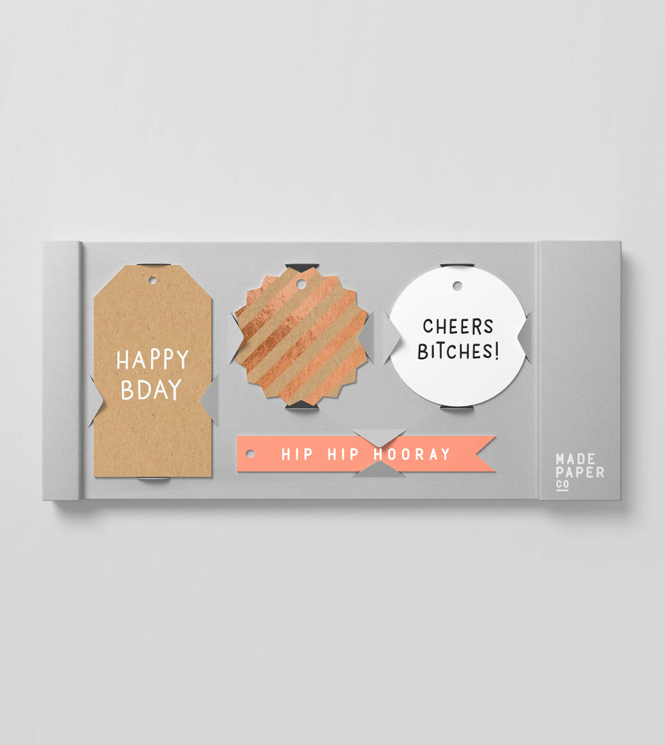 Happy birthday 20pk gift tags (cheers, foil)