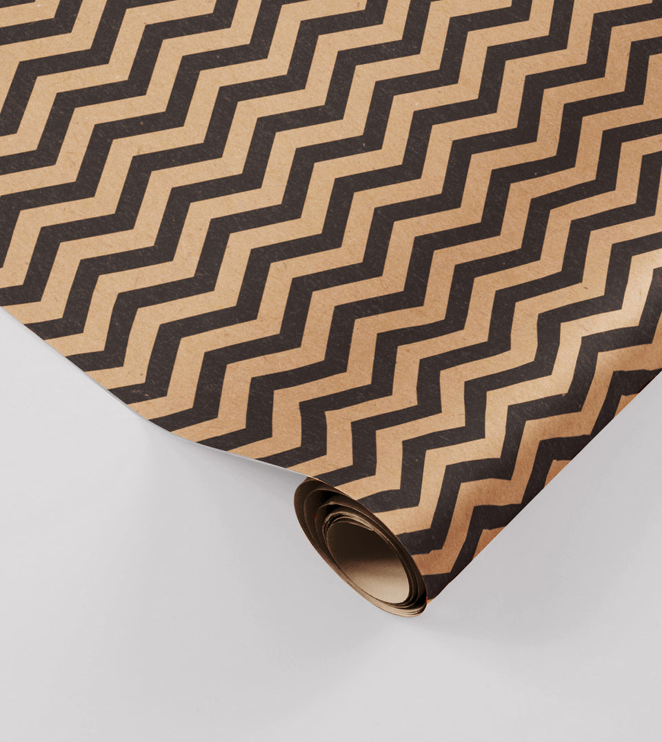 Zig zag black wrapping paper