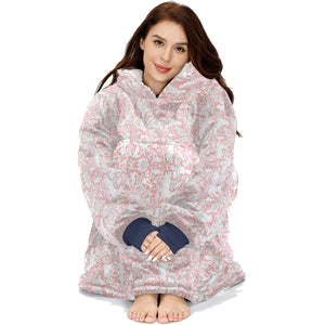 Floral Woodland Coral White Forest Animal Pattern Hoodie Blanket Sweatshirt