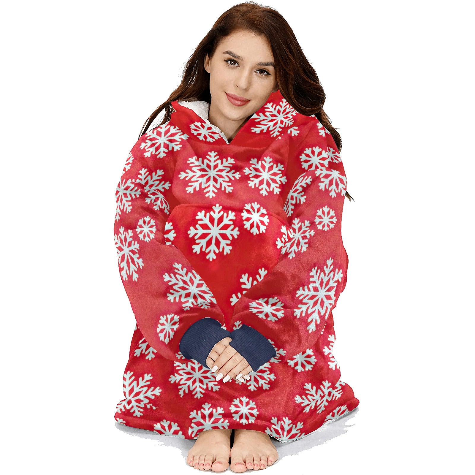 Winter Big White Snowflakes Pattern Red Hoodie Blanket Sweatshirt