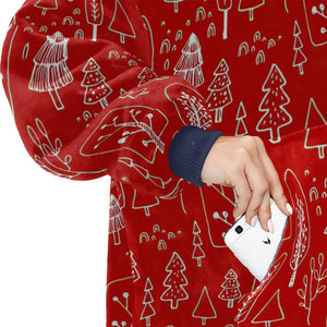 Red And White Christmas Symbols Pattern Hoodie Blanket Sweatshirt