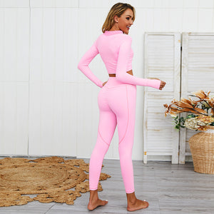2 Piece Set - Long Sleeve Yoga Suit