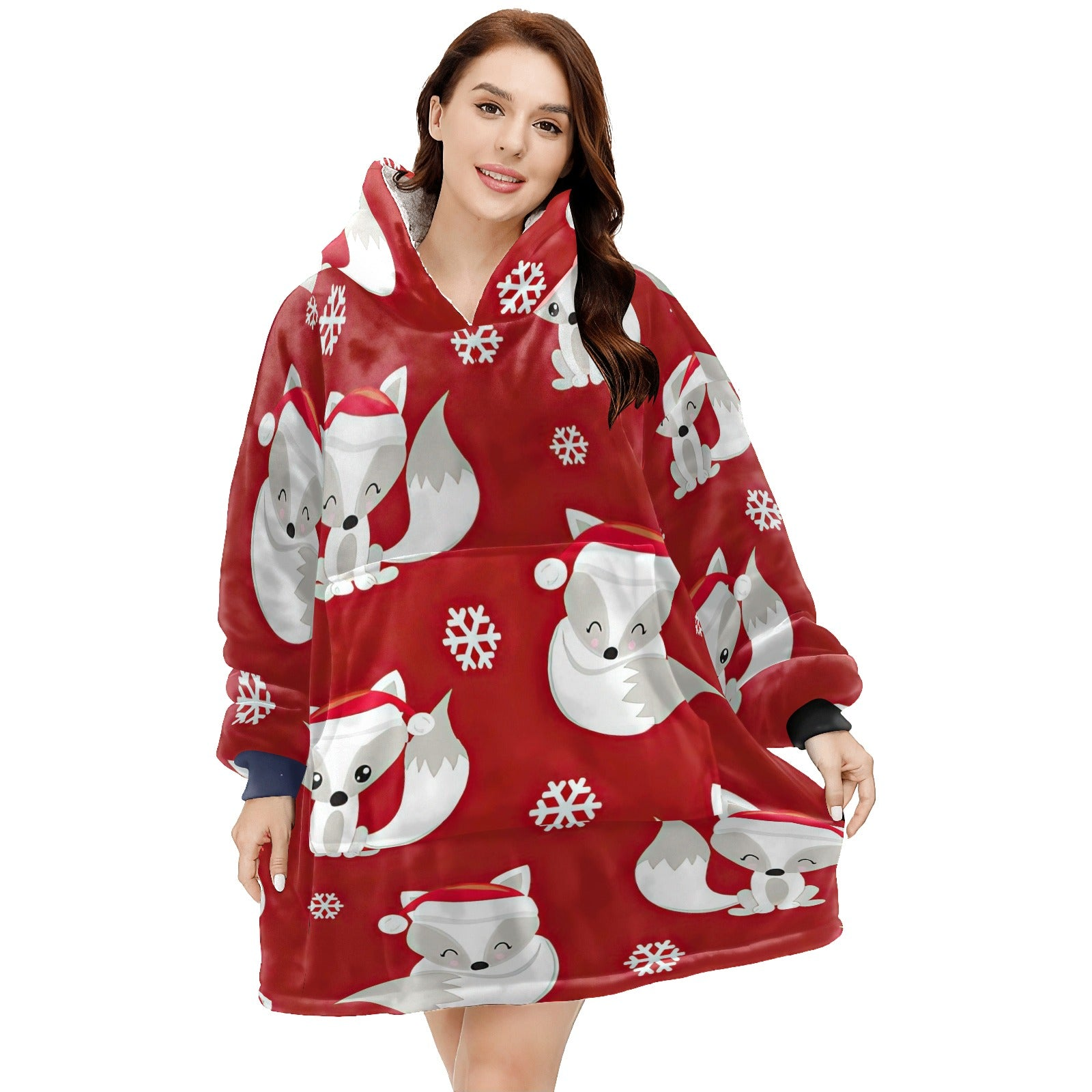 THE SPELL OF THE CHRISTMAS FOXES Hoodie Blanket Sweatshirt