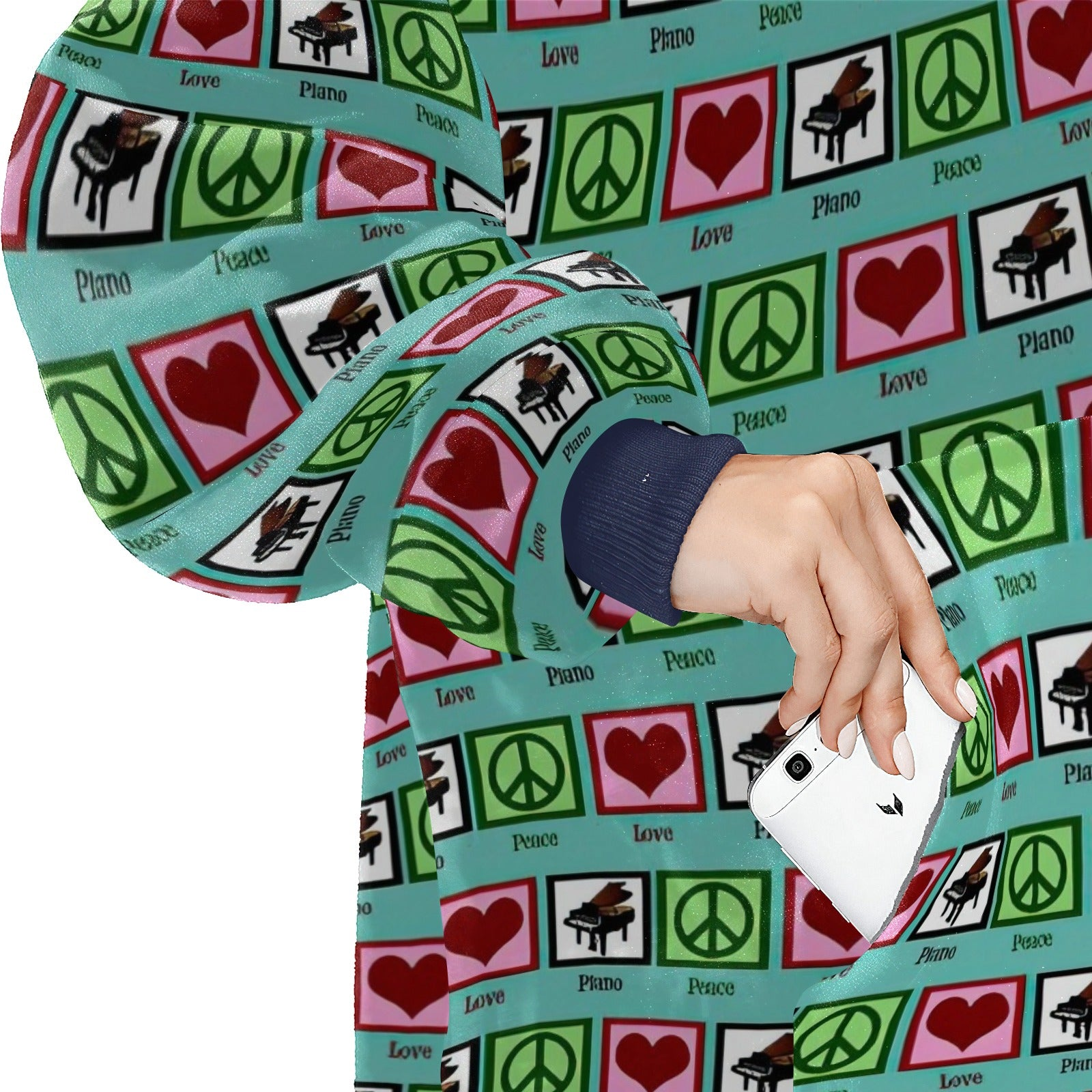 Peace Love Piano  Hoodie Blanket Sweatshirt