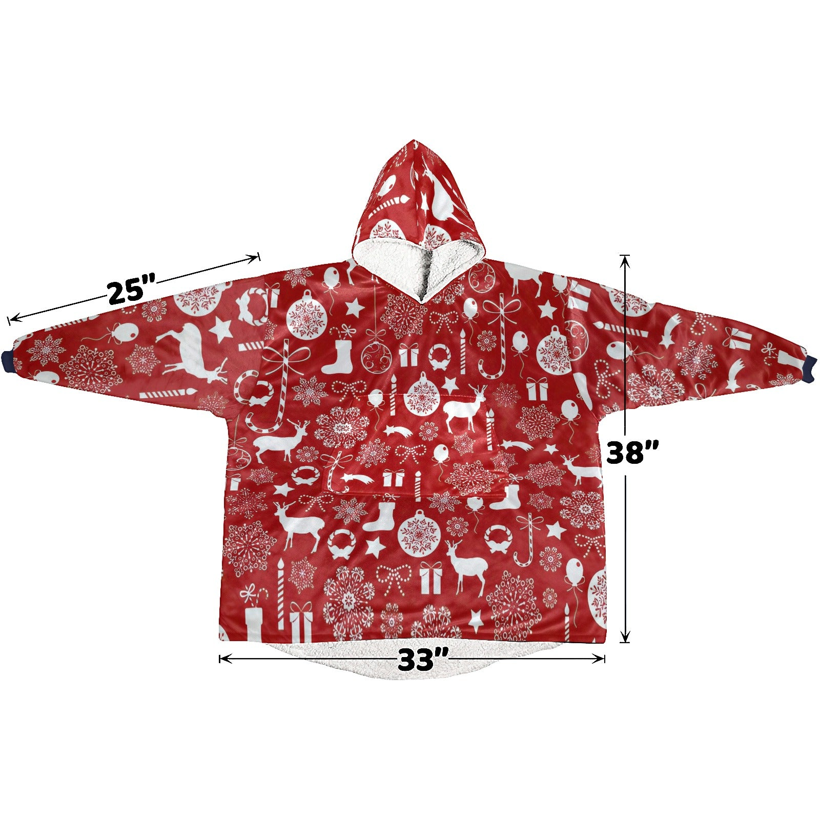 Red And White Christmas Elements Pattern Hoodie Blanket Sweatshirt