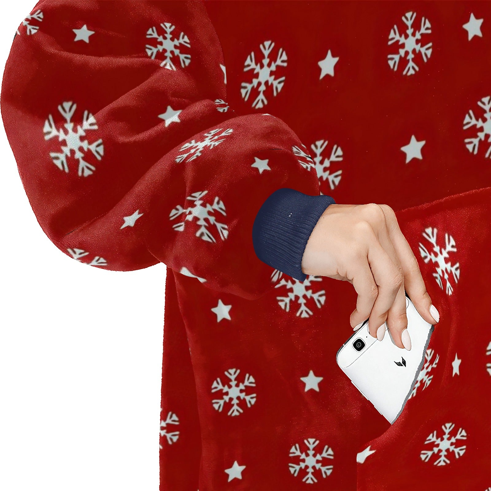 Red Background With White Snowflakes And Stars Pattern Hoodie Blanket Sweatshirt