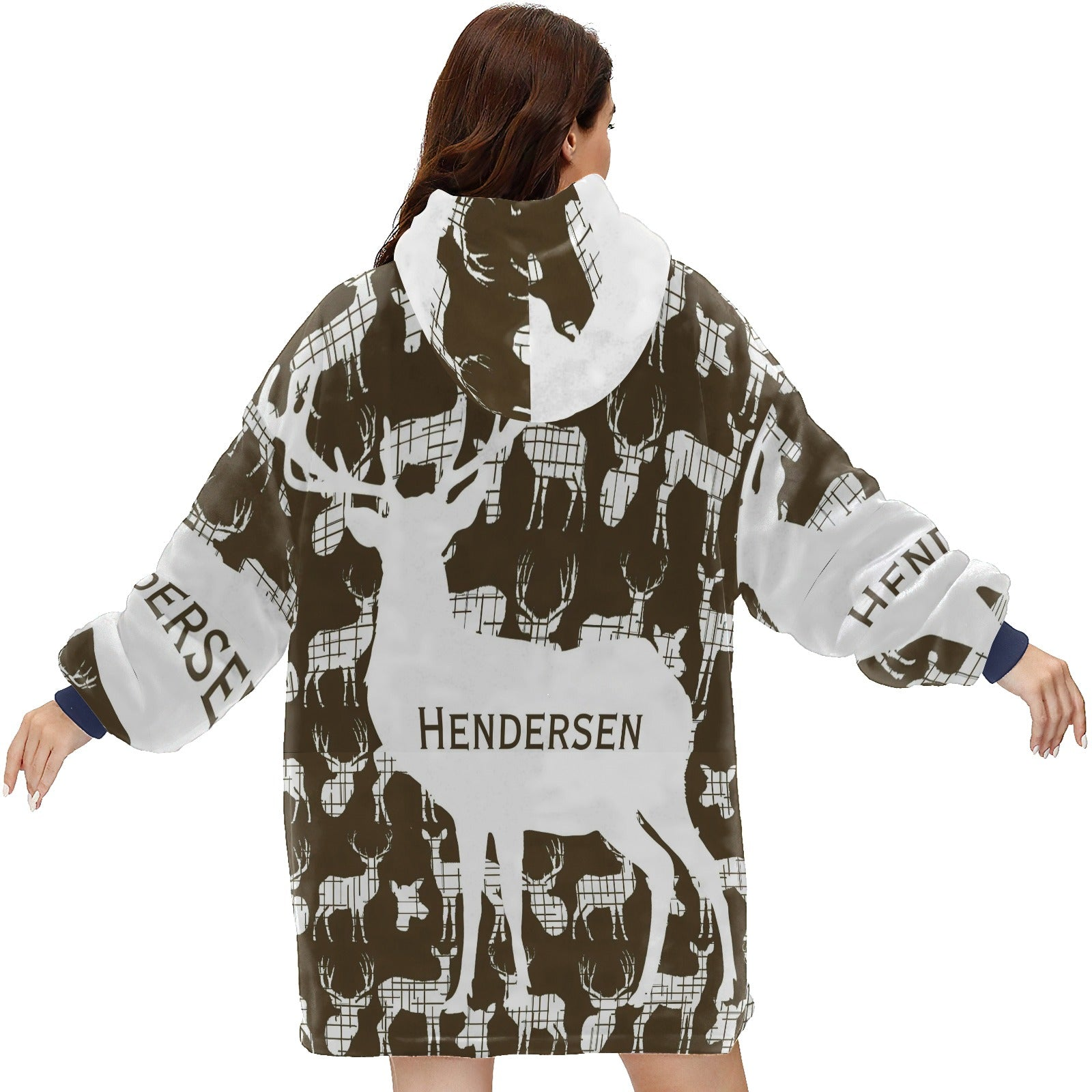 Personalized White Rustic Deer On Brown Hoodie Blanket Sweatshirt
