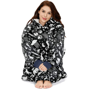 Fox Deer Bear Pattern Cottage Hunting Lodge Hoodie Blanket Sweatshirt