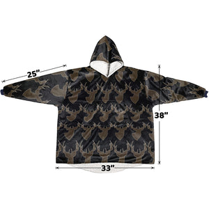 Personalized Hunting Wildlife Animal Buck Antlers Hoodie Blanket Sweatshirt