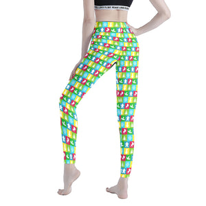 Colorful Christmas Squares Women's Workout Leggings