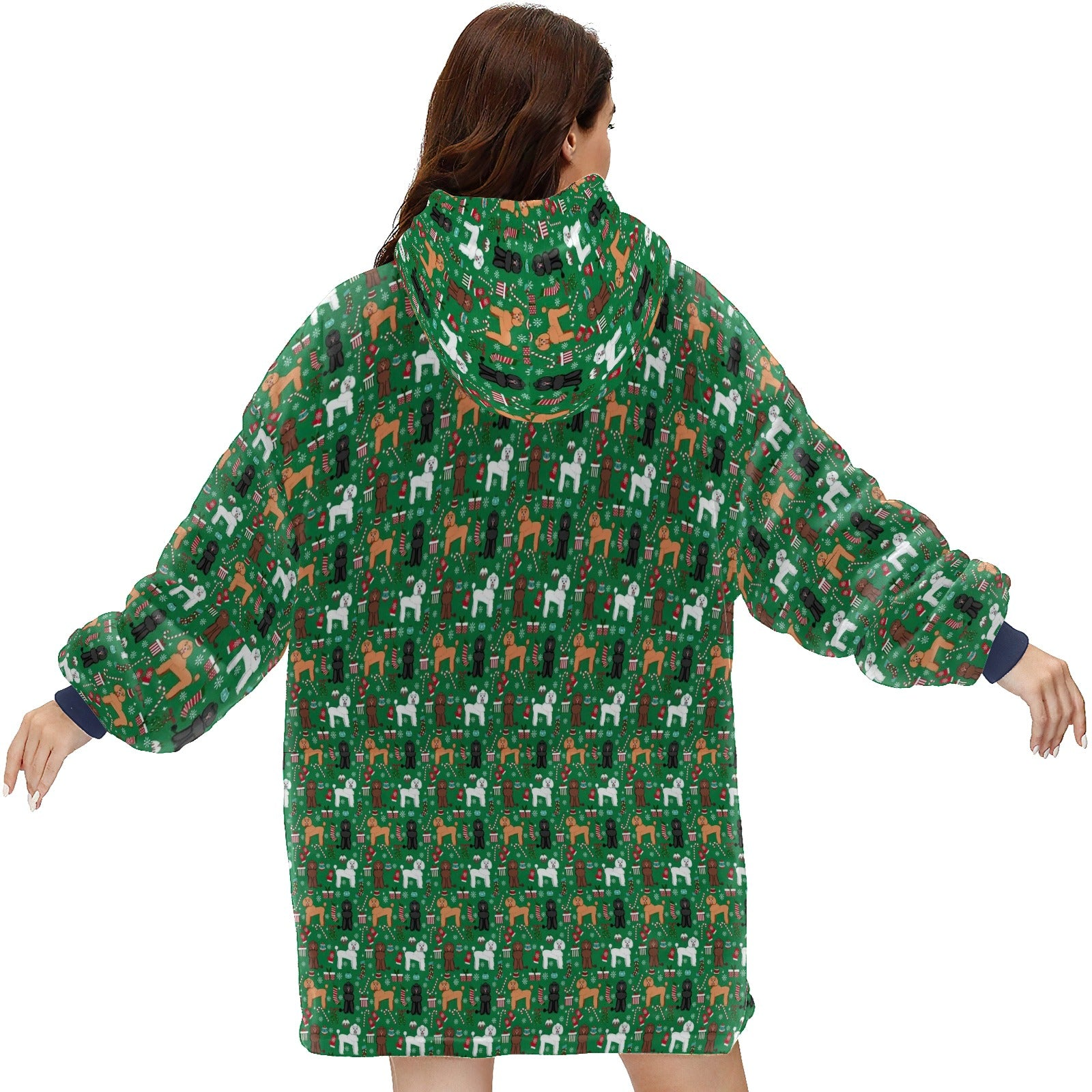 Poodle Dog Christmas Holiday  Hoodie Blanket Sweatshirt