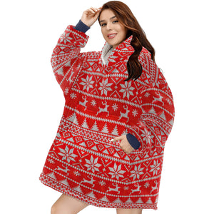 Fair Isle Christmas Hoodie Blanket Sweatshirt