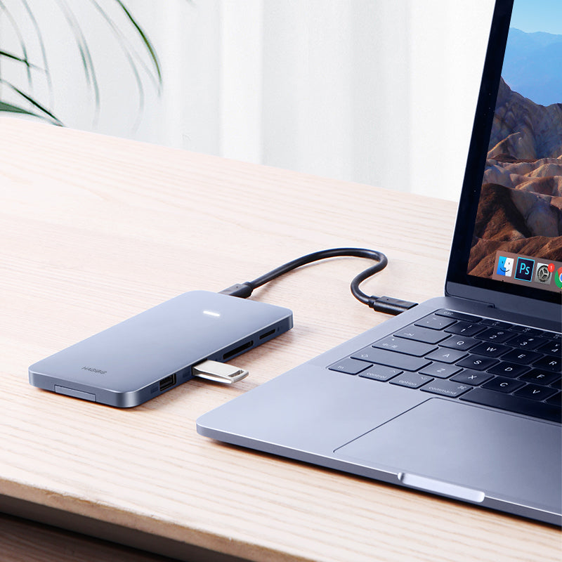 USB-C Hub with M.2 Hard Drive Enclosure for MacBook Pro - Type-C SSD Case with USB 3.1 PD 4K HDMI SATA SD/TF Card Reader