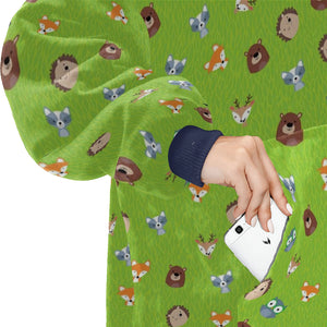 Woodland Friends Fox Bear Raccoon Hedgehog Deer Hoodie Blanket Sweatshirt
