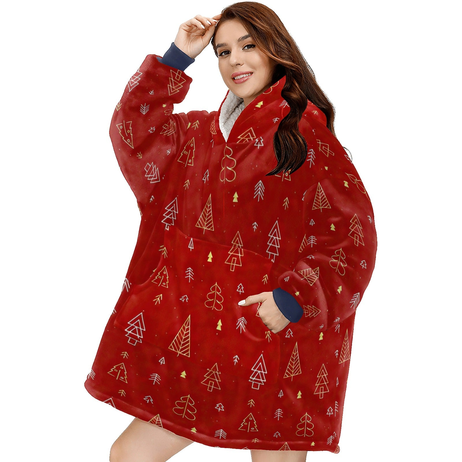Red Background With Gold Christmas Tree Pattern Hoodie Blanket Sweatshirt