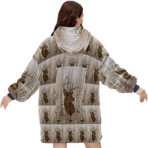 Outdoorsman Western Primitive Barn Wood Deer Hoodie Blanket Sweatshirt