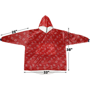 Red And White Queen Annes Lace Pattern Hoodie Blanket Sweatshirt