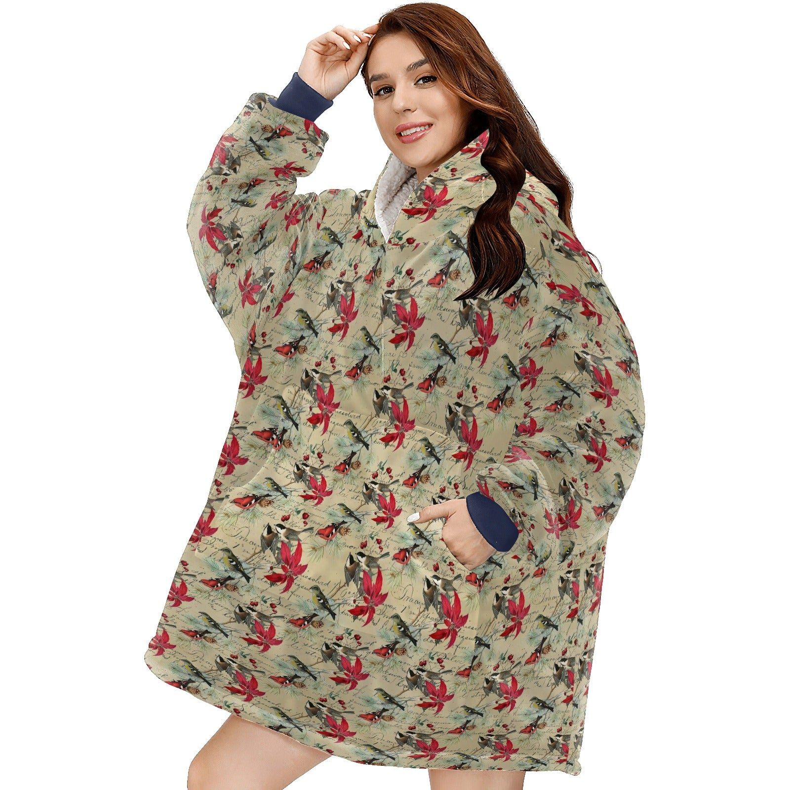 Vintage Christmas Bird And Poinsettia Holiday  Hoodie Blanket Sweatshirt