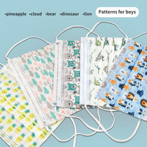 50pcs 3layer Disposable Face for Kids/6-12 years old Boys Girls
