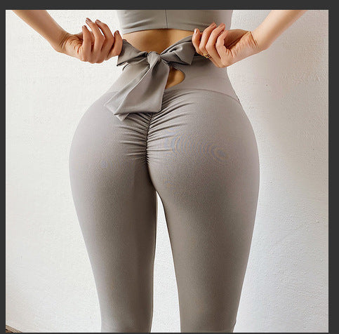 Women's High Waist Yoga Pants - Bowknot Lift hip Sports Leggings