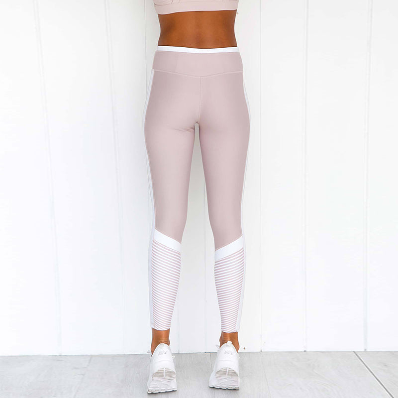 Pink Seamless  Striped Sport Yoga Leggings