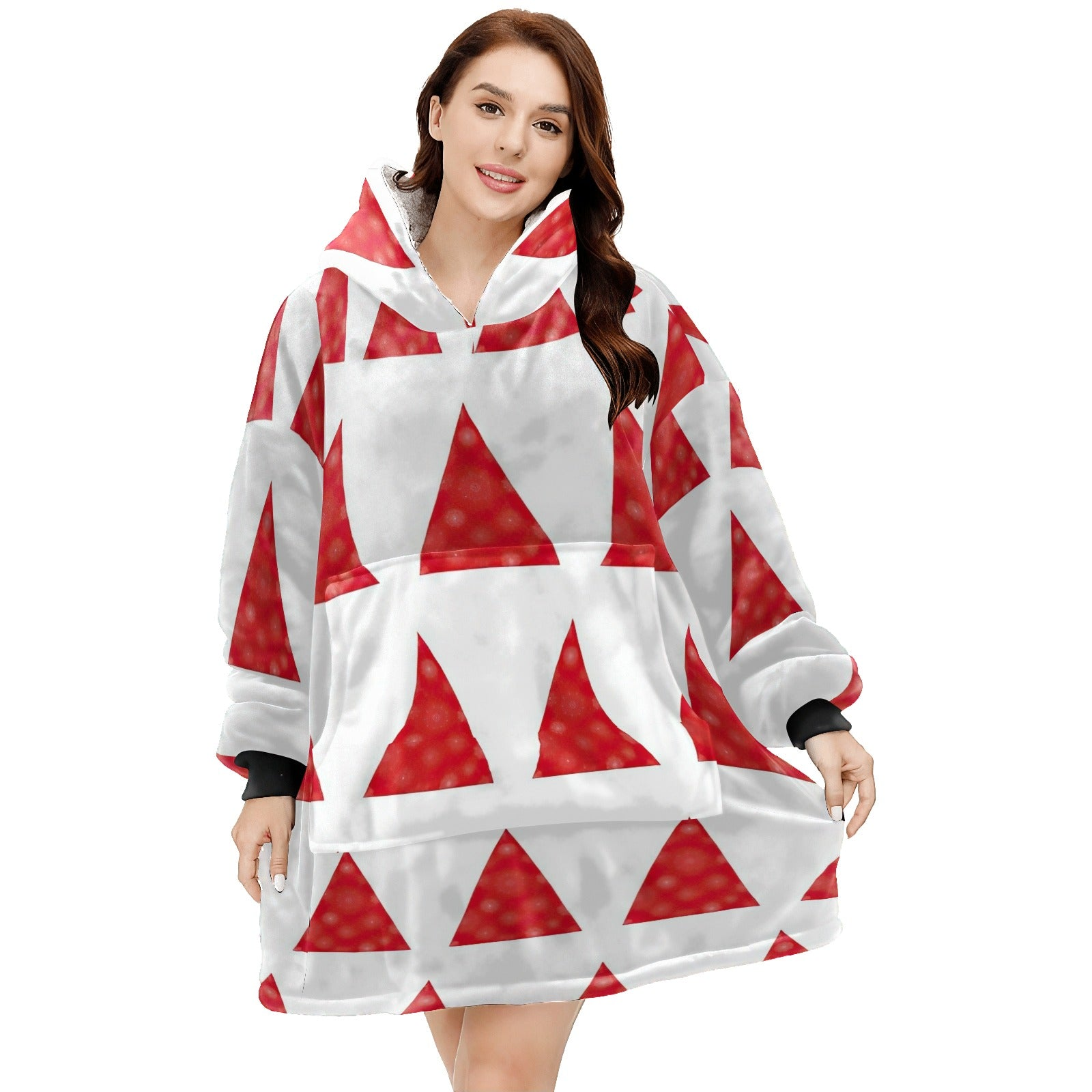 Red Minimalist Christmas Tree Hoodie Blanket Sweatshirt