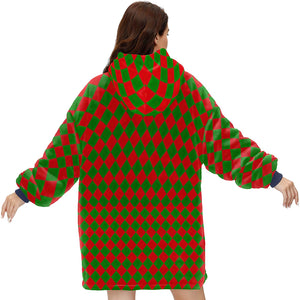 VERY SMALL green and red CHRISTMAS HARLEQUIN DIAMOND PATTERN Hoodie Blanket Sweatshirt