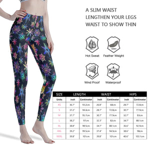 Colorful Snowflakes Winter Christmas Pretty Black  Women's Workout Leggings