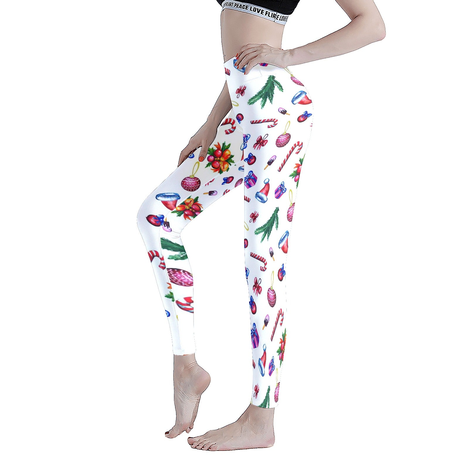 Colorful Christmas Watercolor Pattern On White Background Women's Workout Leggings