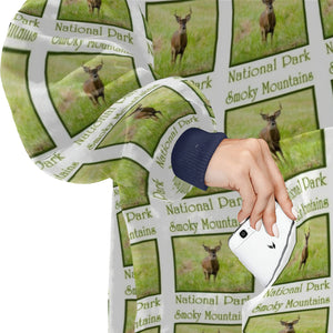 Whitetail Deer Buck Smoky Mountains National Park Hoodie Blanket Sweatshirt