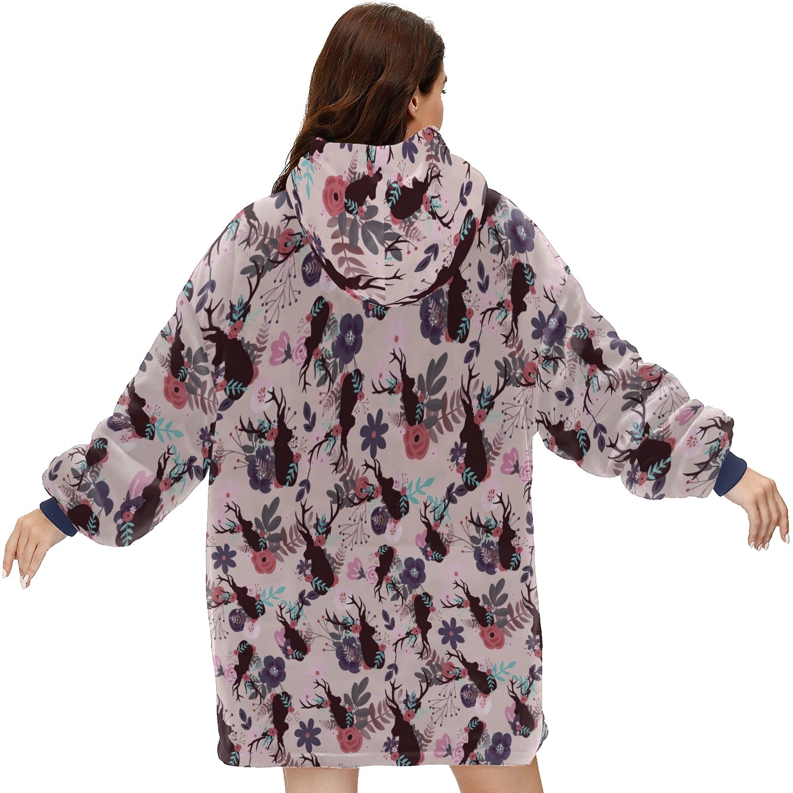 Rustic Deer Head Mauve Floral Girl Baby Shower Hoodie Blanket Sweatshirt