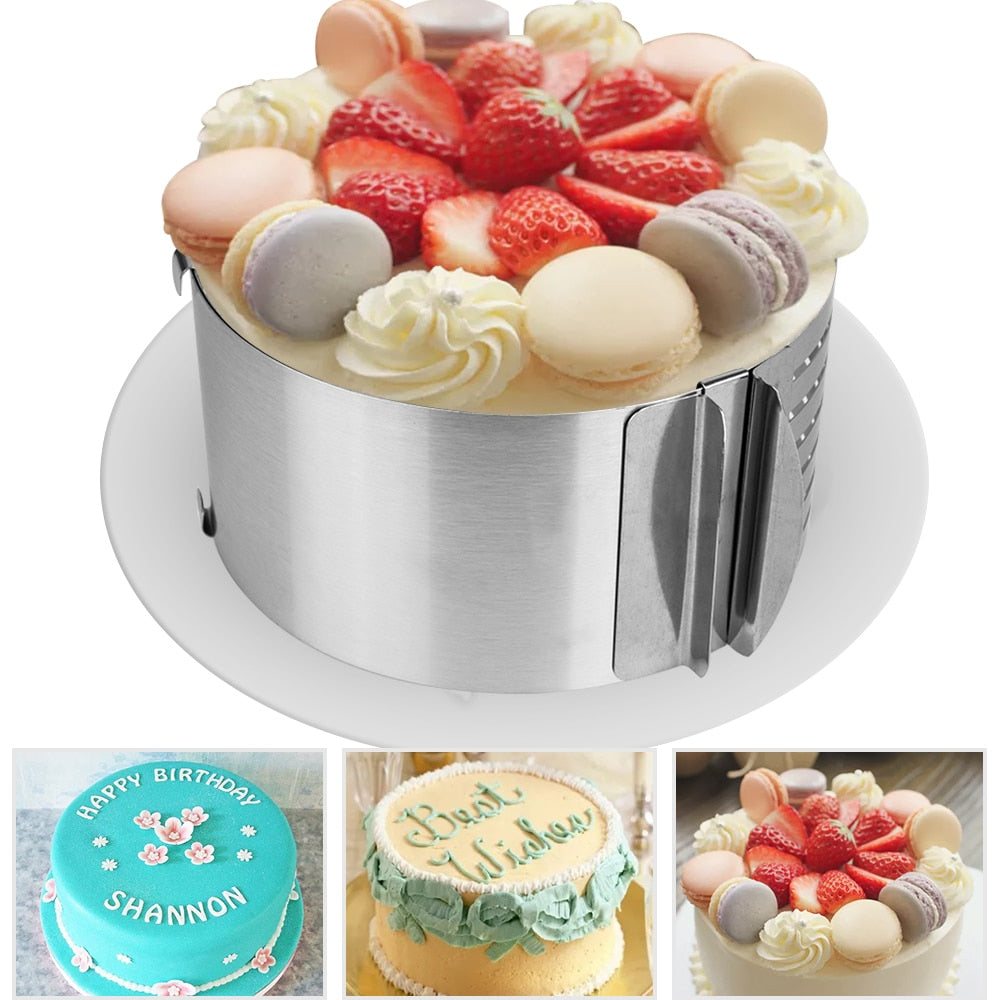 Adjustable Stainless Steel Circle Ring Mousse Cake Baking Mould Mold Retractable