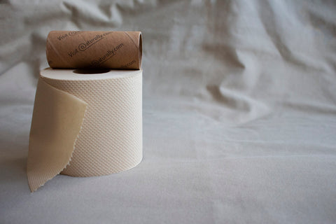 Naturolly unbleached bamboo toilet paper and bamboo core printed with soybean ink