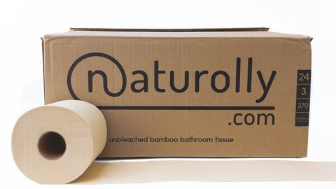 Naturolly unbleached bamboo toilet paper in plastic-free recycled cardboard box packaging