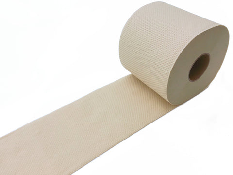 Naturolly unbleached bamboo toilet paper rolled out