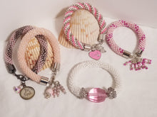 "Load image into Gallery viewer, Crochet Charm Bracelets - ""Pretty in Pink"""