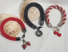 "Load image into Gallery viewer, Crochet Charm Bracelets - ""Red & Black"""
