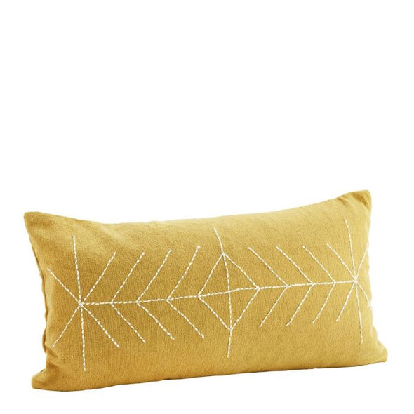 Embroidered cushion 30x50 Mustard