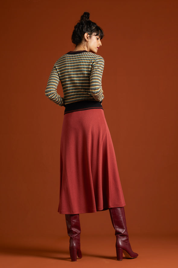Juno Skirt Milano Crepe Henna Red