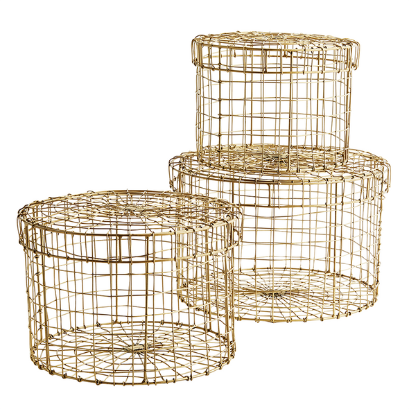 Round wire boxes with lid Ant. Brass