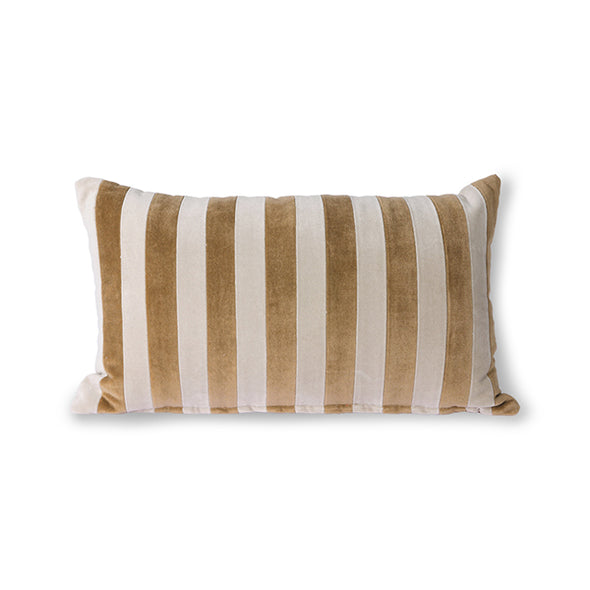 Striped Velvet Cushion Brown/Naturel (30x50) Brown/Naturel