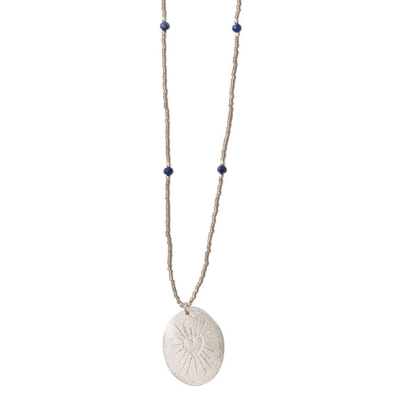 Swing Lapis Lazuli Heart Shine SP Necklace