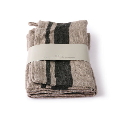 natural/striped linnennapkin set of 2